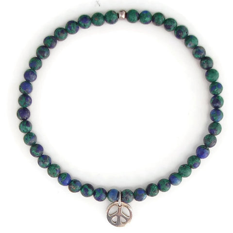 Azurite Malachite with Sterling Silver Peace Bracelet - Pranajewelry
