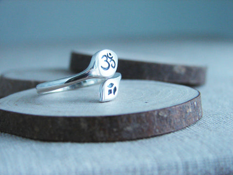 Om Lotus Ring | Yoga Jewelry | Adjustable Ring | Harmony Resilience - Pranajewelry - 1