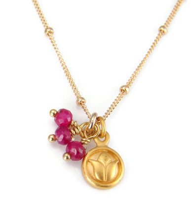 Ruby Lotus Necklace- Passion Inner Beauty - Pranajewelry