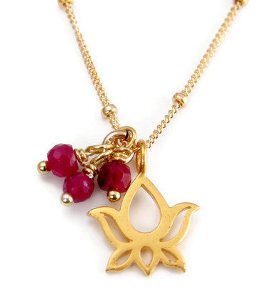 Blooming Lotus Ruby Necklace  - Love Purity Prosperity Freedom - Pranajewelry