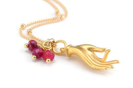 Ruby Mudra Gold Necklace