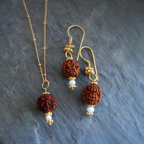Rudraksha - Tears of Compassion Pearl Gold Necklace Earring Set - Pranajewelry