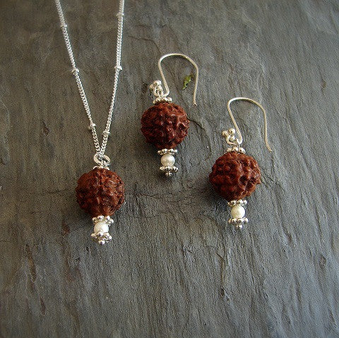Rudraksha -Tears of Compassion Pearl Silver Necklace Earring Set - Pranajewelry