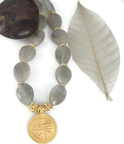 Sanskrit Labradorite Necklace Good Health - Good Life - Pranajewelry