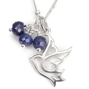 Silver Dove Necklace |  Sapphire Gemstone Necklace | Freedom Prosperity - Pranajewelry