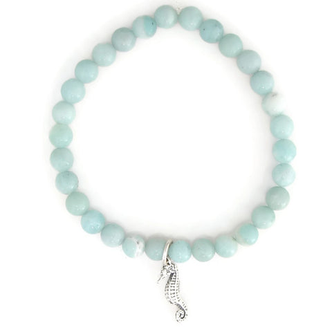 Sea Horse Sterling Silver Charm Amazonite Bracelet - Pranajewelry