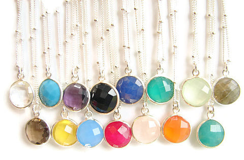 Intuition Silver Gemstone Necklaces - Pranajewelry