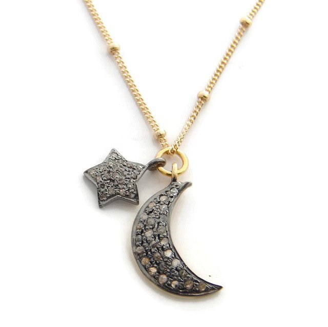 Pave Diamond Star & Moon Necklace