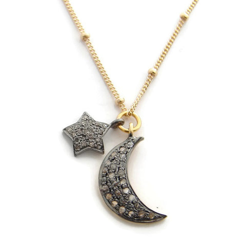 Pave Diamond Star & Moon Necklace- Love You to the Moon & Back - Pranajewelry