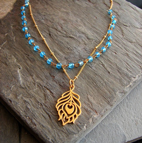 Topaz Peacock Layered Necklace-Love for Life & Joy - Pranajewelry