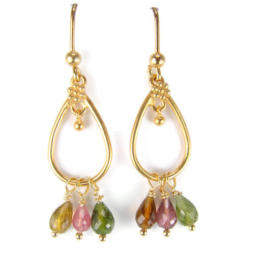 Tourmaline Gemstone Chandelier  Earrings - Love Grounding - Pranajewelry