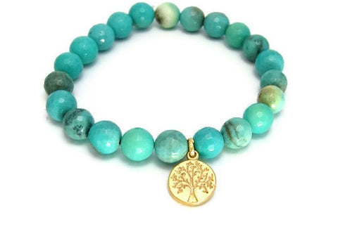 Tree of life Chrysoprase Gemstones Bracelet - Nurture Success - Pranajewelry - 1