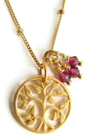 Tree of Life Garnet Gold Necklace - Family Love - January Birthstone - Pranajewelry - 1