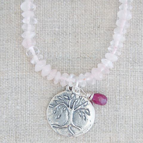 Tree of Life Necklace | Ruby | Rose Quartz - Pranajewelry - 1