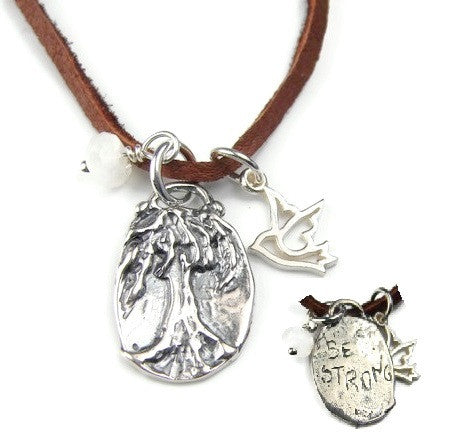 Tree of Life Necklace |  Be Strong | Dove Pearl Neckalce | Freedom Grounding Strength - Pranajewelry