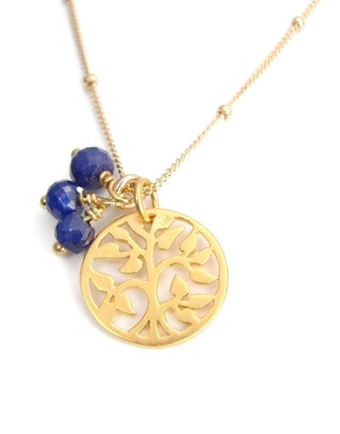 Tree Of Life Sapphire Gemstones Necklace - Prosperity Grounding - Pranajewelry