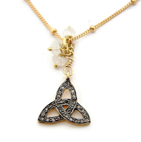 Trinity Knot Pave Diamond Moonstone Necklace - Mind Body Spirit - Pranajewelry