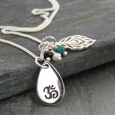 Silver Om necklace | Truth Harmony |  Spirit Necklace | Om Peacock Feather | Pearl Onyx Emerald | Yoga Jewelry - Pranajewelry
