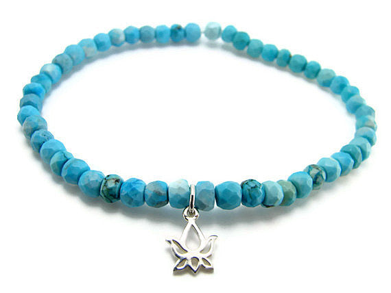 Turquoise Bracelet with Silver Lotus - Beauty Frienship - Pranajewelry