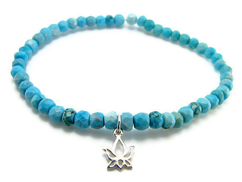Turquoise Bracelet with Silver Lotus