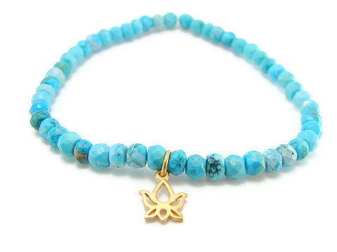 Turquoise Lotus Bracelet- Friendship