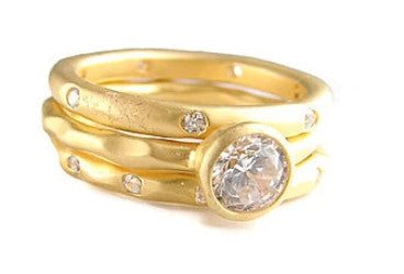 Stars and Moon Ring - Gold Plated & Cubic Zirconia - Pranajewelry