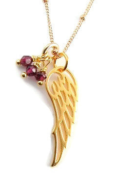 Angel Wing Gold Garnet Gemstone Necklace - Freedom Love Passion. - Pranajewelry