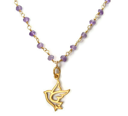 Dove Amethyst Gemstone Necklace -  Peace Freedom - Pranajewelry