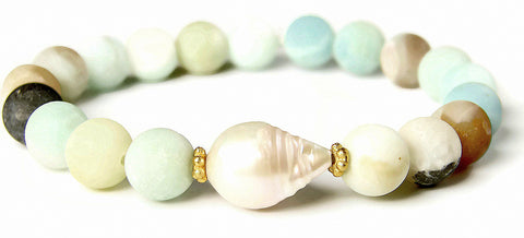 Aquamarine Gemstone Baroque Pearl Bracelet Compassion Purity - Pranajewelry