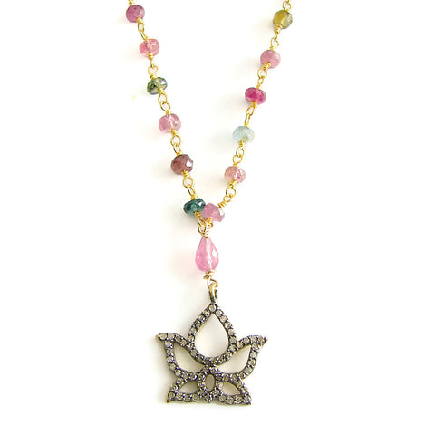 diamond Lotus necklace | Tourmaline