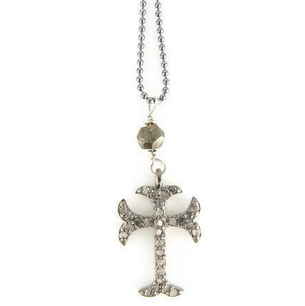 Pave Diamond Cross Necklace - Devotion Protection - Pranajewelry