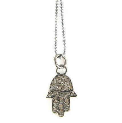 Diamond Hamsa Necklace - Protection Love Happiness - Pranajewelry
