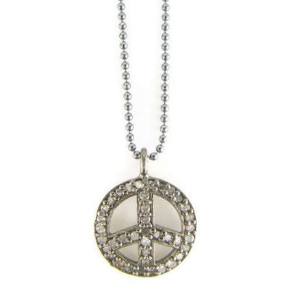 Pave Diamond Peace Pendant Necklace - Abundance - Pranajewelry