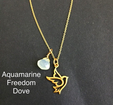 Let Peace Take Flight | Dove Aquamarine Necklace - Freedom Compassion