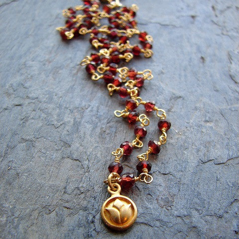 Lotus Necklace | Garnet Gemstone | Love Beauty Resilience - Pranajewelry