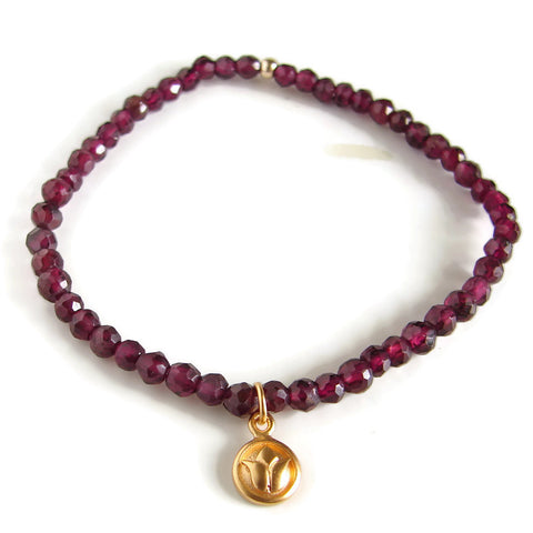 Lotus and Garnet Gemstone Bracelet - Love Inner Beauty - Pranajewelry