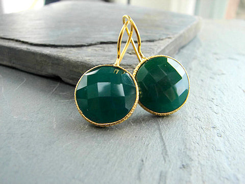 Green Onyx Faceted Bezel Round Earrings  - Balance Growth - Pranajewelry