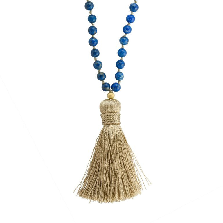 Lapis Mala Prayer Beads Necklace - Pranajewelry