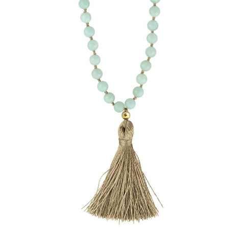 Mala Necklace | Amazonite Mala Prayer Beads | Tassel Necklace - Pranajewelry - 1