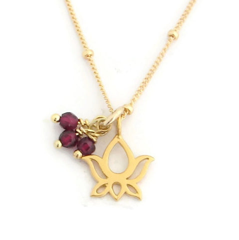 Lotus Necklace | Garnet Gemstones