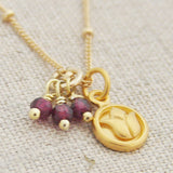 Garnet Lotus Necklace