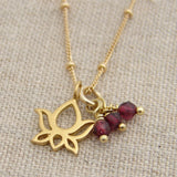 garnet lotus gold necklace