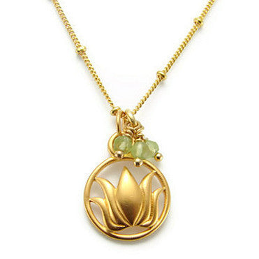 Lotus Peridot Gemstone Necklace