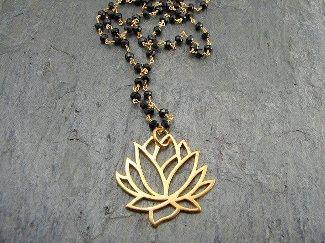 Mangalsutra - Awakening Large Lotus Necklace- Spinnel Gemstones - Pranajewelry