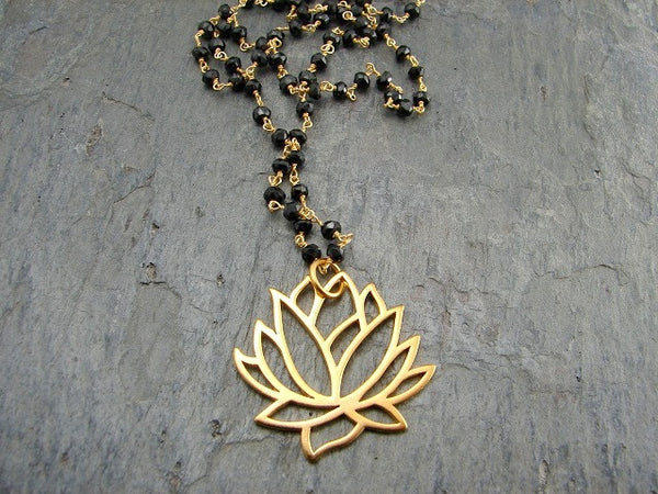 cdd7139fd823a Mangalsutra Necklace | Awakening | Large Lotus Necklace | Spinnel Gemstones