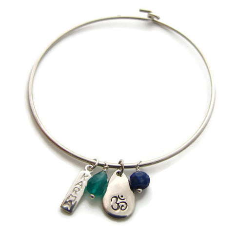 Om Karma Bangle | Yoga Jewelry |  Sapphire Green Onyx | Harmony - Pranajewelry