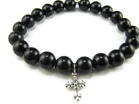 Mens Silver Cross Bracelet