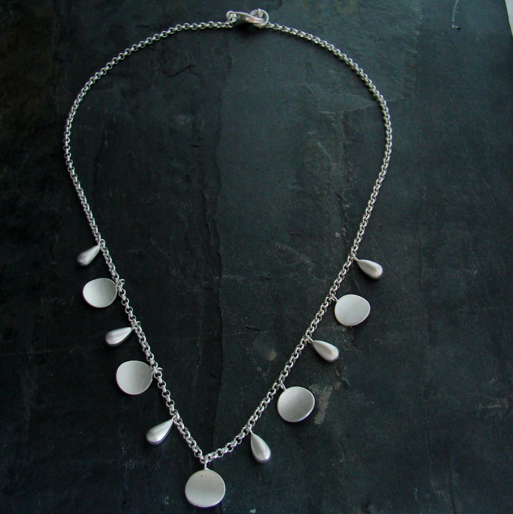 Rain Drop Sunburst Necklace - Brushed Sterling Silver - Simply Beauty - Pranajewelry - 1