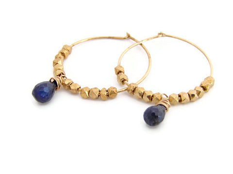 Sapphire Gemstone Tear Drop Earrings with Gold Faceted Beads - Pranajewelry