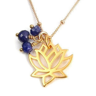 Lotus Gold Necklace | Sapphire Gemstones | Transformation Prosperity - Pranajewelry